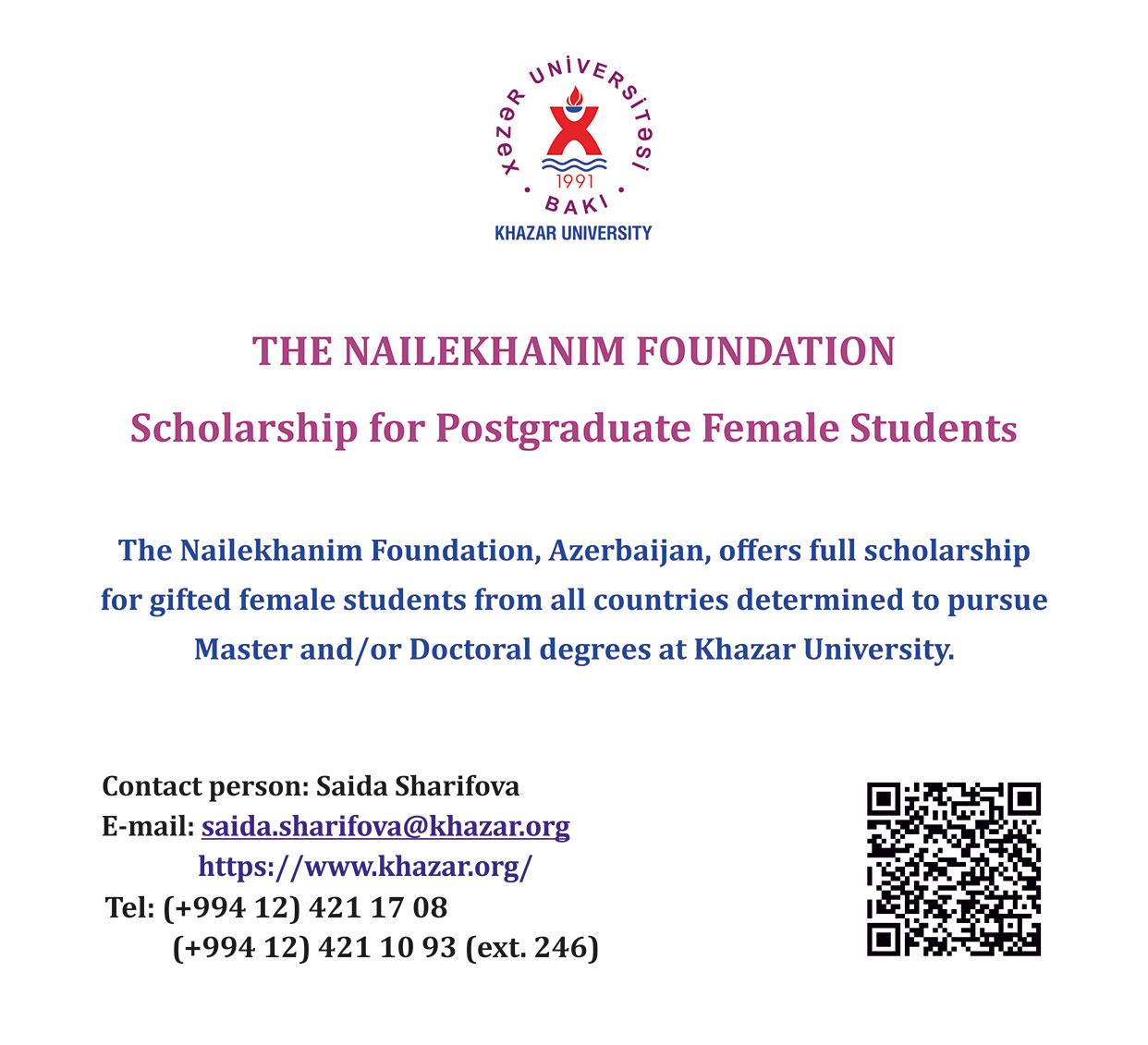 Full Scholarship for Postgraduate Female Students