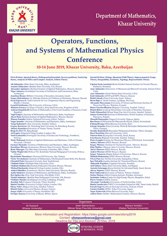 """Second International Conference on """"Operators, Functions, and Systems of Mathematical Physics"""" to Be Held"""