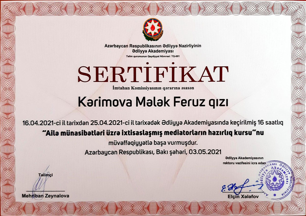 """Coordinator of the Department of Psychology completes a course """"Training of Mediators"""""""